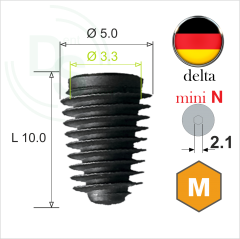 Dll.5010 Имплантат MeDent Delta mini N Conical 11° Ø5.0 L10.0